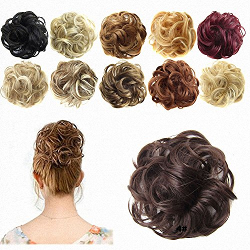 FESHFEN Hair Extensions Wavy Curly Messy Hair Bun Extensions Donut Hair Chignons Hair Piece Wig Medium Brown Hairpiece Scrunchy Scrunchie Hair Bun Updo Hairpiece Hair Ribbon Ponytail Extensions (Fake Hair Clips compare prices)