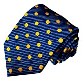 Lorenzo Cana - Luxury Italian 100% Pure Silk Tie Blue Yellow Golden Dots Necktie - 77120
