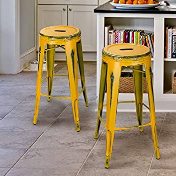 Joveco 30-inch Vintage Inspired Metal Bar Stools, Set of 2