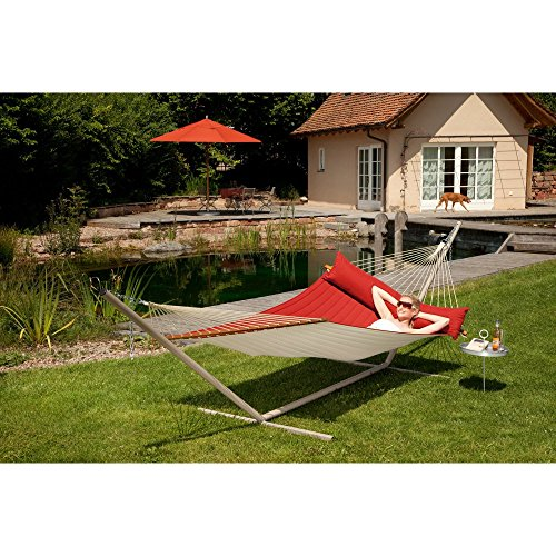 Coolaroo Chillax Alabama Double Polypropylene Hammock with Timber Spreader Bar, Arabica