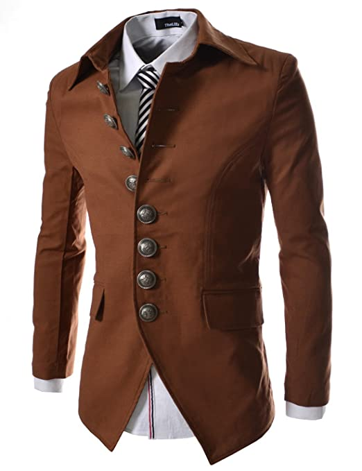 Steampunk Clothing- Men's t 8 Button Front Blazer Jacket $59.50 AT vintagedancer.com