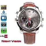 fannuoyi Wrist Smart Watch Camera Full HD 1920x1080P IR Night Vision Mini Camera 16GB Waterproof DVR (Color: brown)