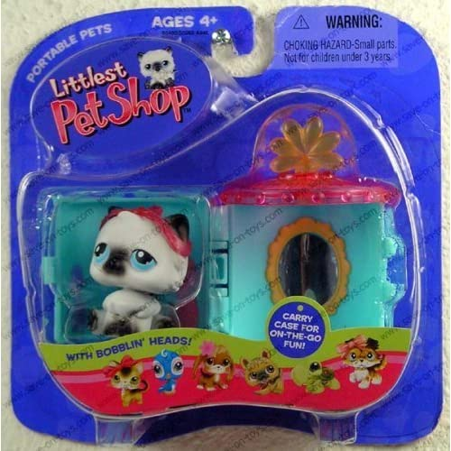 Littlest Pet Shop - Portable Pets - Siamese Kitty with Tiara, Carrying Case and Vanity Mirror by Hasbro