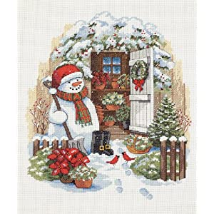 Dimensions Counted Cross Stitch Garden Shed Snowman