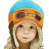 CELLTEK® Fashion Boys Cool Beanie Pilot Aviator Crochet Earflap Hats Warm Winter Cap (Blue)