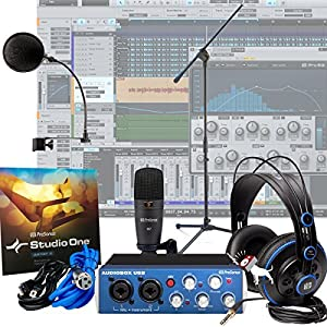 Presonus AudioBox Studio + Pop Filter + Mic Stand Home Recording Bundle Kit