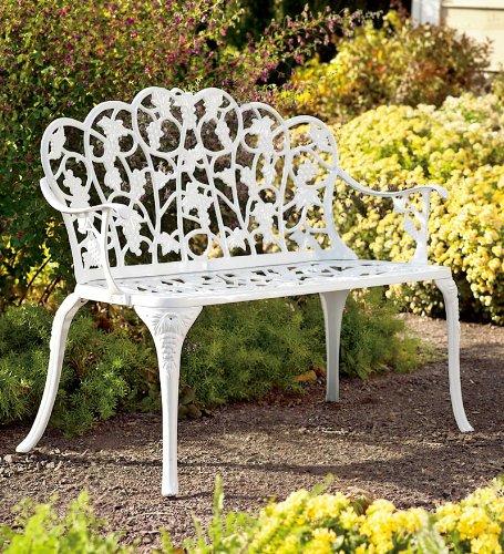 Powder-Coated Aluminum Grape Vine Vintage-Style Garden Bench in White