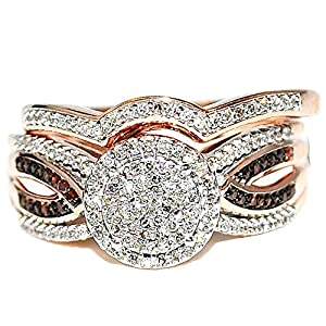 Rose Gold Cognac Diamond Halo Bridal Wedding Rings Set 10K 0.4ctw 10mm Wide from MidwestJewellery