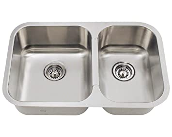 "27.5"" x 18"" Offset Stainless Steel Kitchen Sink"