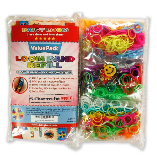 Loom Rubber Bands Refills Value Pack - 1800 Bands (600 with Glow in the Dark Neon Effect) - 5 Free Charms 90 S-clips 3 Hooks - Variety Kit of 14 Mixed Clear Colors with Fruity Smell Make Cool Bracelets - Latex Free Silicone - Rainbow Loom Compatible