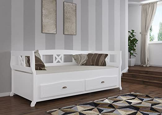 Children's Bed frame Lounis 1, white lacquered - size 90 x 200 cm