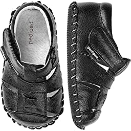pediped Harvey Originals Fisherman Sandal (Infant/Toddler),Black,Small (6-12 Months)