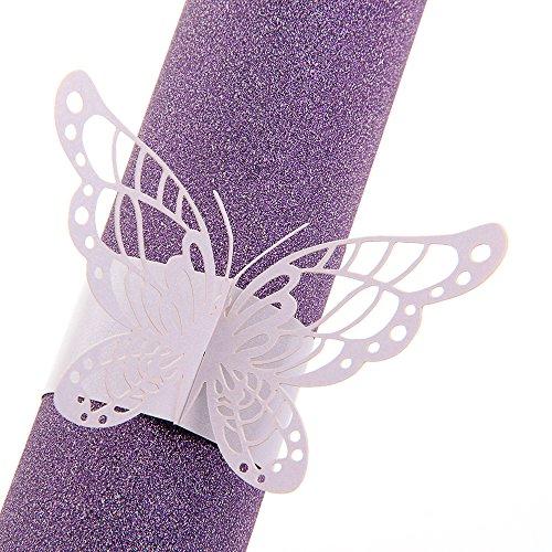 l alysee 50x rond de serviette anneau papier violet papillon ajour d cor table mariage les. Black Bedroom Furniture Sets. Home Design Ideas