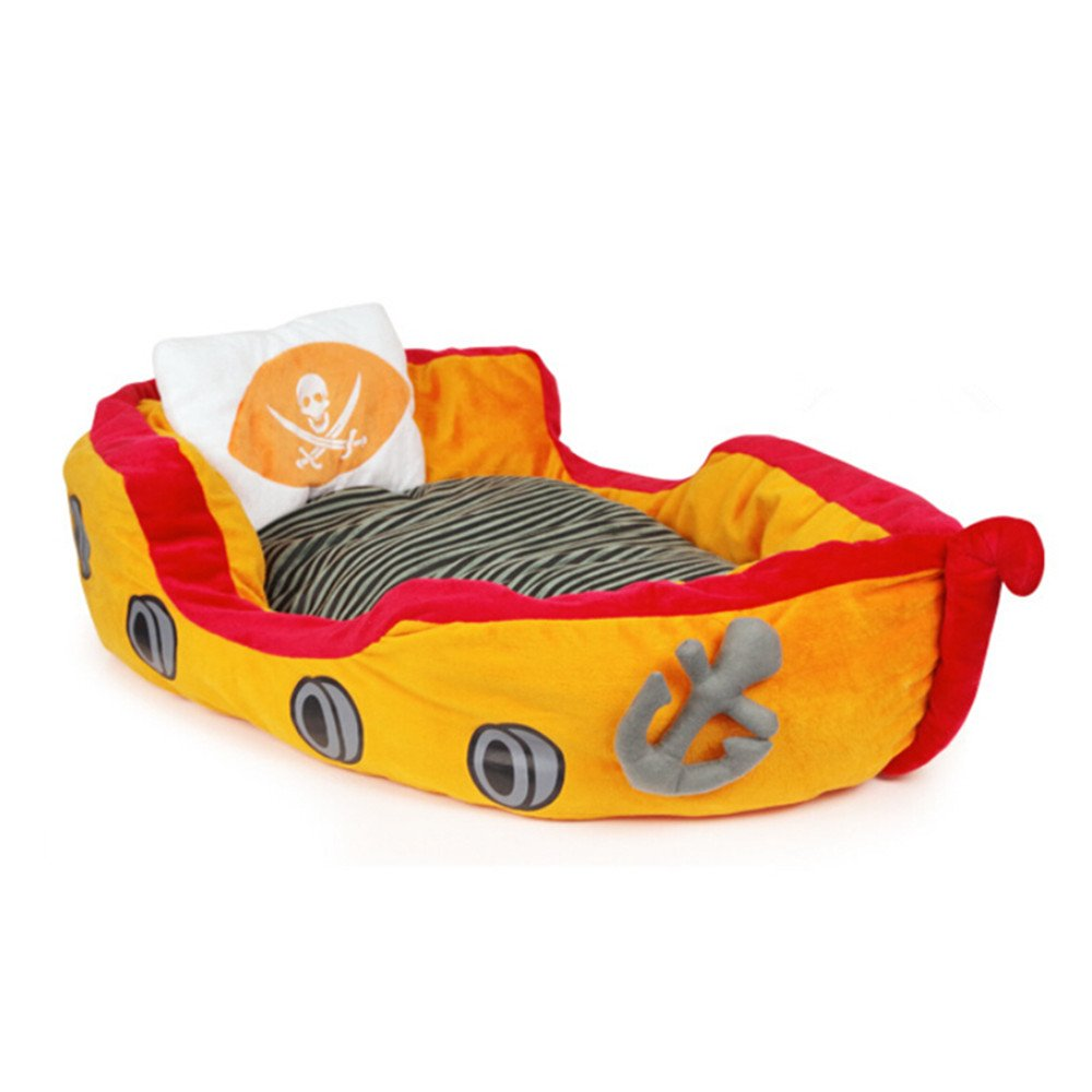 Warm Pirate Ship Bed Luxury Sofa + Soft Pillow and Cosy Mat Detachable Washable for Dogs and Cats