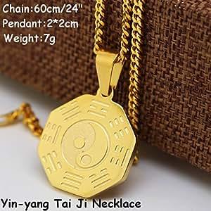"Gold Plated yin-yang Tai Ji necklace & 24"" cuban chain Rap Golden Tai"