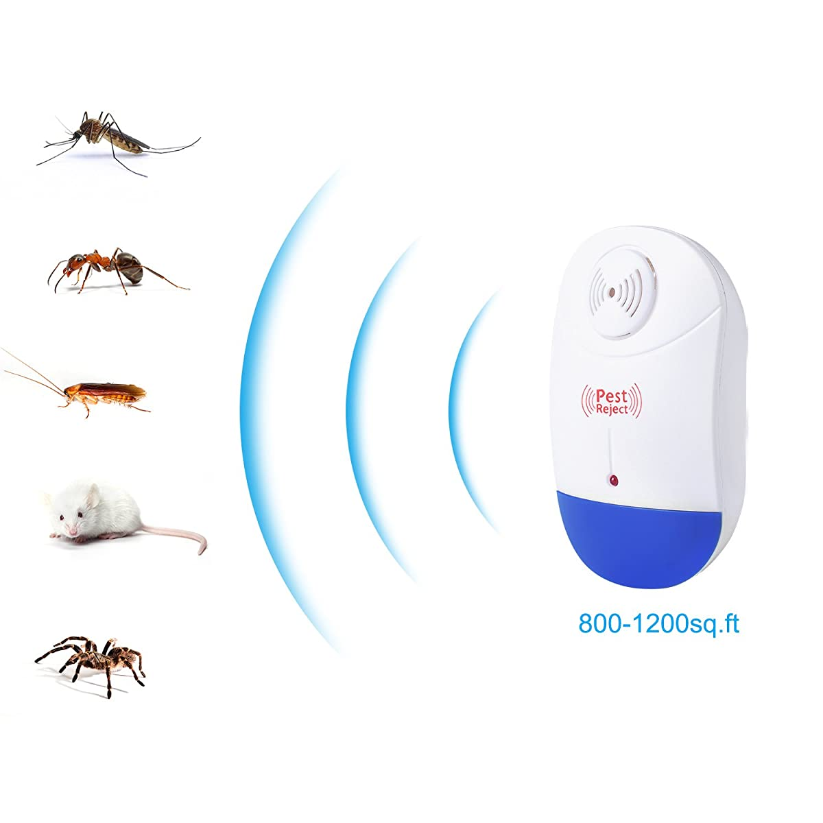 Pest Control Ultrasonic Repeller - Electronic Plug In repellent indoor 4packs - Rodents & Insects Repellent - Repels Mosquitoes, Mice, Spiders, Ants, Rats, Roaches, Bugs, Environment-friendly