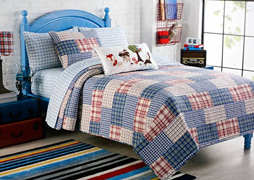 Charles Street Kids Twin Quilt Red Blue Plaid front-58864