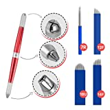 Microblading Pen Universal Manual Tattoo With 4X Needle Blades For Permanent Makeup and Eyebrow Supplies | 3-Sided Durable Stainless Steel, Lightweight Design With Lock-Pin Tech & Ergonomic Grip | (Color: Red)