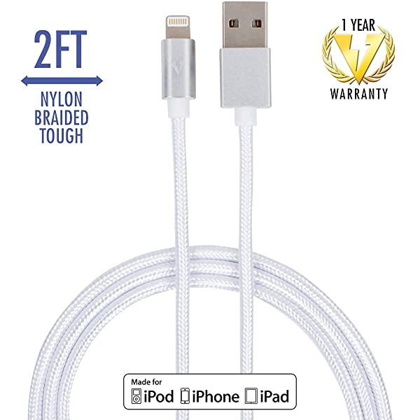 vCharged 2 FT Lightning Cable Compatible with iPhone & iPad - 1 Year Warranty (White)