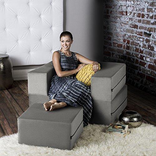 Jaxx Zipline Convertible Sleeper Futon Chair & Ottoman with Machine-Washable Cover, Pewter (Jaxx Modular compare prices)