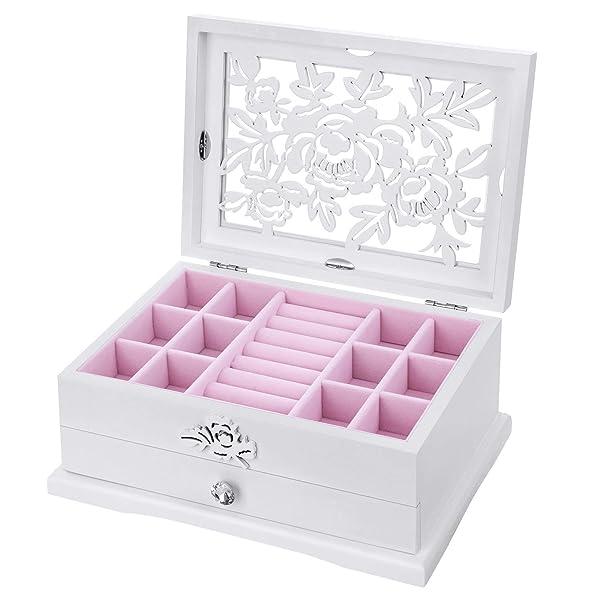 Songmics Girls Jewelry Box Wooden Flower Carving Organizer Storage
