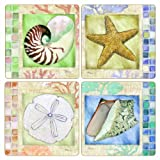 "CoasterStone AS2455 Absorbent Coasters, 4-1/4-Inch, ""Mosaic Shells"", Set Of 4"