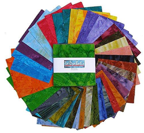 Benartex TIE-DYE BALI BATIKS Precut 5-inch Charm Pack Cotton Fabric Quilting Squares Assortment