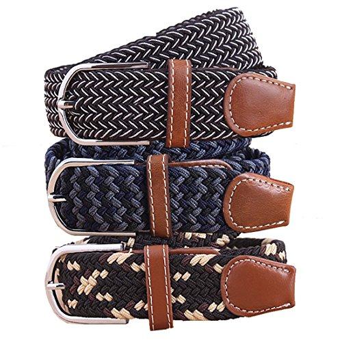 BMC Mens Wear 3pc Stretchy Woven Design Tricolor One Size Adjustable Belt Set - Conservative Adventurist