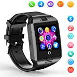 Smart Watch,Bluetooth SmartWatch with Camera Touchscreen,Smart Watches Waterproof Unlocked Phones Watch with SIM Card Slot,SmartWatches Compatible with Android Phone XS 8 7 6 Samsung Huawei Men Women (Color: Black Q18)