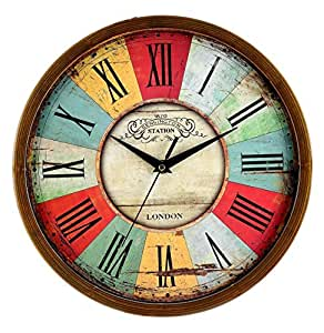 Buy Elios 12 Round Vintage Wooden Look Wall Clock With Glass For Home Bedroom Living Room