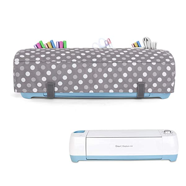 Luxja Dust Cover Compatible with Cricut Explore Air and Explore Air 2, Dust Cover with Back Pockets, Gray Dots (Color: Gray Dots)