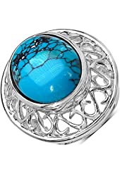 Oval 20x15 mm Synthetic Turquoise Cabachon Ring in 925 Sterling Silver - Ring Size 7