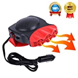 Portable Car Heater, Car Defroster Defogger, Heating Cooling Fan, 30 Seconds Fast Heating, Auto Ceramic Heater Windshield Defroster that Plugs Into Cigarette Lighter 12V 150W 3-Outlet (Color: Red)