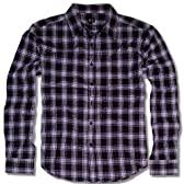 GHETTO (ゲットー) アメカジ シャツ メンズ 長袖 チェックシャツ LL 黒 パープル 白 3色 bia625