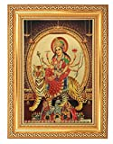 BM TRADERS GOLDEN FOIL PHOTO OF MAA DURGA WITH GOLDEN FRAME