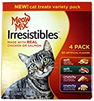 Meow Mix Irresistibles Soft Cat Treats with Real Chicken or Salmon Variety 4 Pack, 25 oz.