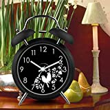 "UniqueBella 4"" Ultra Silent Quartz Analog Bird Floral Twin Bell Loud Alarm Clock with Nightlight Black"