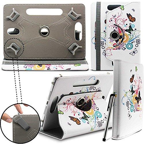 Prestigio MultiPad 8.0 Pro Duo Tablet Neues Design Universelle um 360 Grad drehbare PU-Leder Designer bunte Hülle mit Standfunktion - Cover - Tasche - Schmetterling auf Baum / Butterfly Tree - Von Gadget Giant®