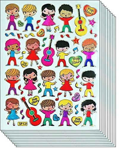 Jazzstick 200 Glitter Cute & Fun Musician & Guitar Decorative Sticker 10 sheets 09A10