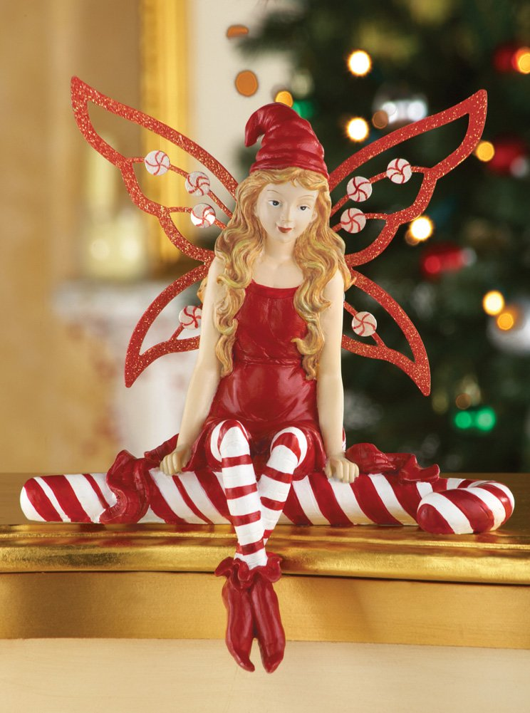 Candy Cane Christmas Angel Fairy Figurine