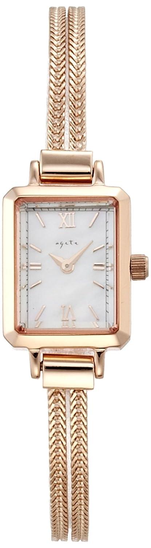 Amazon.co.jp: [アガット]agete 【スクエアフェイスウォッチNO37PG】 1014112000303999 レディース: 腕時計通販