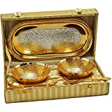 Odna Bichona Royal Silver And Gold Plated Brass Bowl And Tray Set Of 5 Pcs (22.606X12.7X6.35, Silver And Gold)