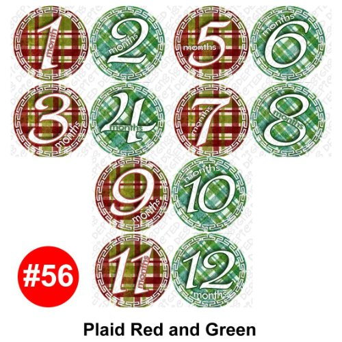 GREEN RED GINGHAM Baby Month Onesie Stickers Baby Shower Gift Photo Shower Stickers, baby shower gift by OnesieStickers - 1