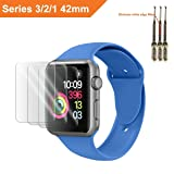 For Apple Watch Screen Protector 42mm, For Apple Watch Tempered Glass Screen Protector, Anti-Scratch Scratch Resistant Scratch-proof Screen Film for Apple iWatch 42mm Series 1/2/3 (3Pack) (Color: 3 Pack 42 mm)