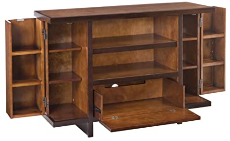 Home Style 5539-120 Geo Deluxe TV Entertainment Stand, Walnut Finish