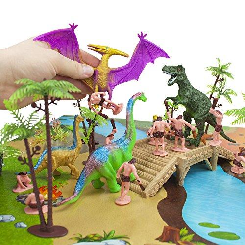 100 Piece Dinosaur And Cave Man Prehistoric Playset With