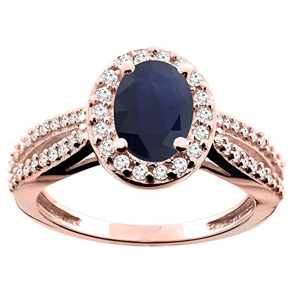 14ct Rose Gold Natural Blue Sapphire Ring Oval 8x6mm Diamond Accent 7/16 inch wide, size M