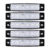 5pcs Anzio 6-LED Surface Mount Side Marker Indicator Light 12V with Pad for Cargo Semi Trailer Container Tractor Truck Bus Lorries (White LED)