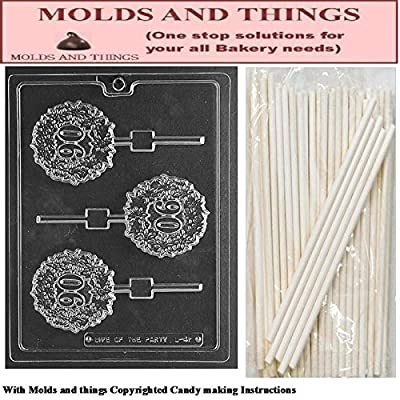 90 LOLLY numbers and letters Chocolate candy mold With Candy Making Instruction - set of 2 molds with 25 sticks