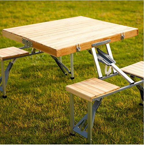 Plixio Portable Folding Wood Picnic Table With 4 Bench Seats The Lawn